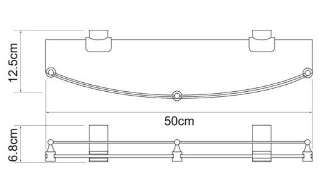 Полка WasserKRAFT Leine K-5044 (К-5024) стеклянная металл, хромоникелевое покрытие, закаленное матовое стекло, фото