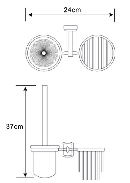 Держатель WasserKRAFT Oder K-3035 освежителя и щетки для унитаза металл, хромоникелевое покрытие, матовое стекло, фото