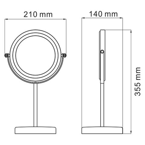 Зеркало WasserKRAFT K-1003  двухстороннее, стандартное и с 3-х кратным увеличением, латунь, хромоникелевое покрытие, фото