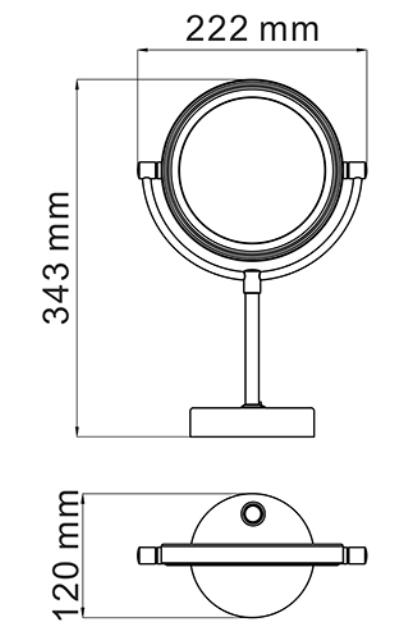 Зеркало WasserKRAFT K-1005 с LED-подсветкой двухстороннее, стандартное и с 3-х кратным увеличением, латунь, хромоникелевое покрытие, фото