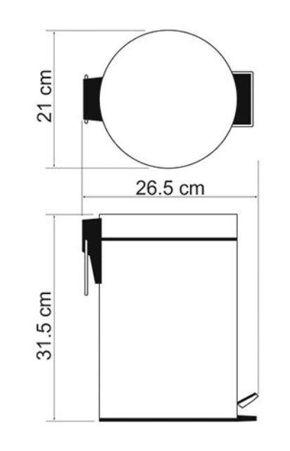 Ведро WasserKRAFT K-635 Black 5 л нержавеющая сталь, ABS - пластик, фото