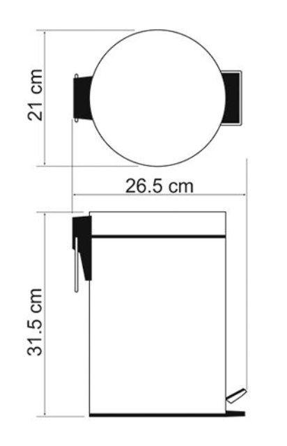 Ведро WasserKRAFT K-655 5L, с микролифтом нержавеющая сталь, ABS - пластик, покрытие